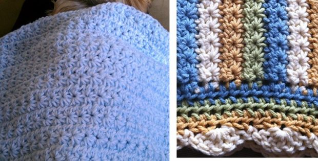 Star stitch crocheted baby blanket free crochet pattern dt1010fo