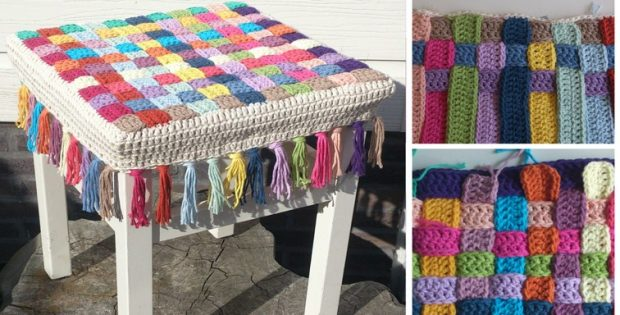 Crocheted Stool Cover | the crochet space