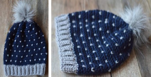 Snowfall Crocheted Slouchy Hat [FREE Pattern + Video Tutorial]