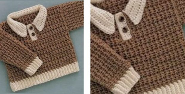 Crocheted Baby Boy Sweater Free Crochet Pattern