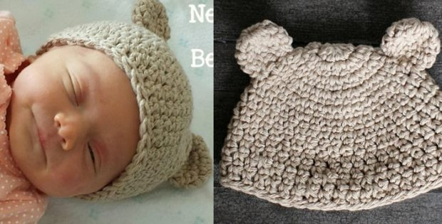 34fbd34e08d Newborn Crocheted Bear Hat  FREE Crochet Pattern