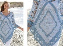 Tide Crocheted Poncho With Squares And Stripes | the crochet space