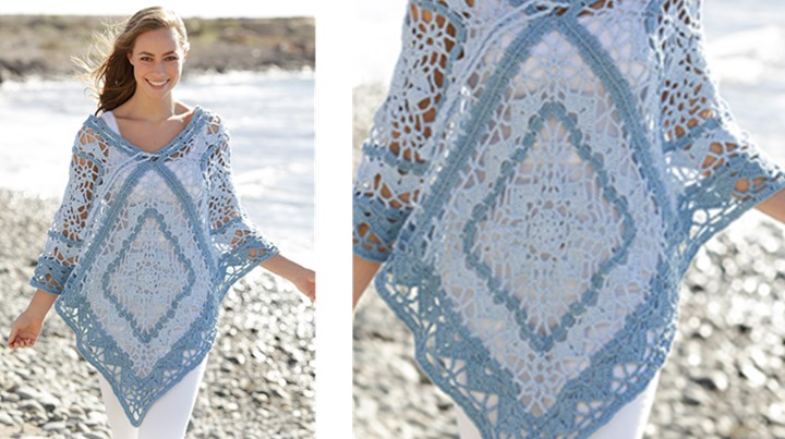 Tide Crocheted Poncho With Squares And Stripes   the crochet space