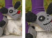 Silly Puppy Crocheted Dog Slippers | the crochet space