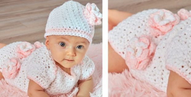 Crocheted Floral Onesie And Hat | the crochet space