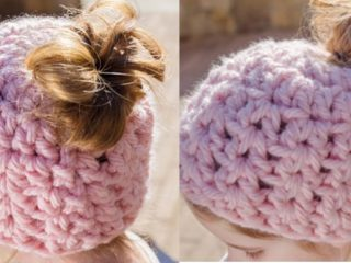Child's Crocheted Messy Bun Hat | the crochet space