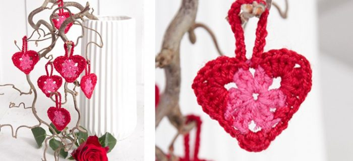Delightful Crocheted Hanging Hearts   the crochet space