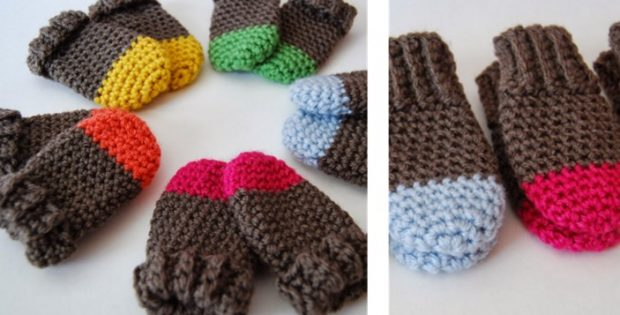 Two Tone Crocheted Baby Mittens Free Crochet Pattern