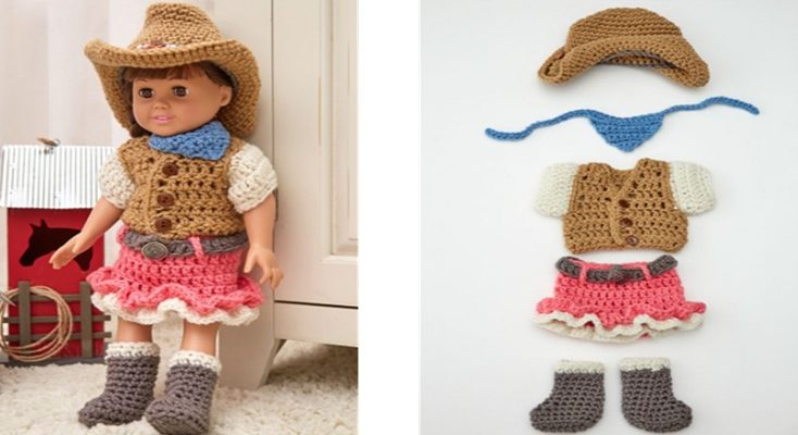 Crocheted Dollie Cowgirl Outfit [FREE Crochet Pattern]