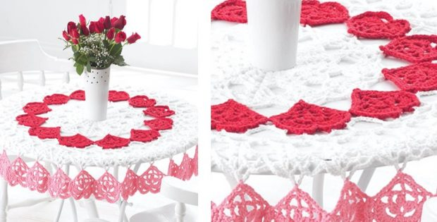Crocheted Valentines Tablecloth Free Crochet Pattern