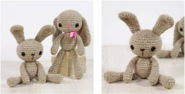 Adorable Long Legged Crocheted Bunny Free Crochet Pattern