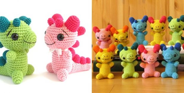 Crocheted Baby Dragon Rattle Free Crochet Pattern