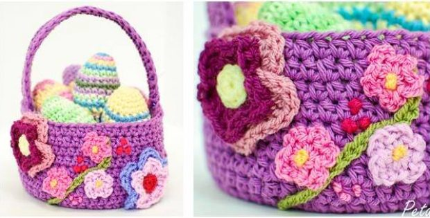 adorable crocheted Easter basket | the crochet space