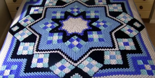 Blue Star Crocheted Afghan Free Crochet Pattern