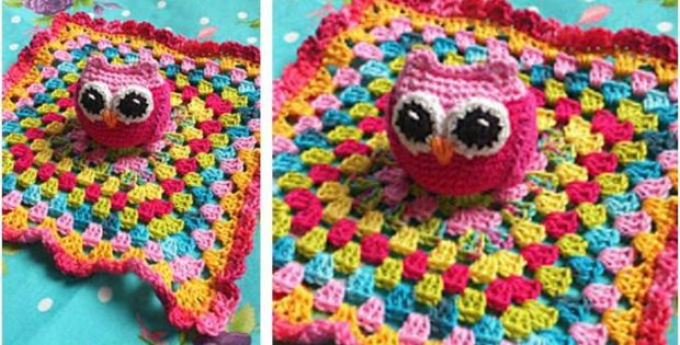 colorful crocheted owl baby blanket | the crochet space