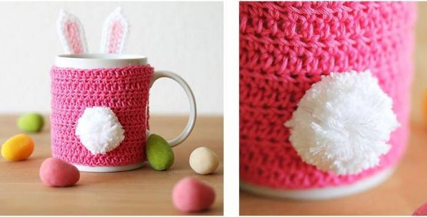 Easter Bunny Crocheted Mug Cozy Free Crochet Pattern