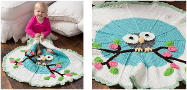 cutie owl crocheted baby blanket | the crochet space