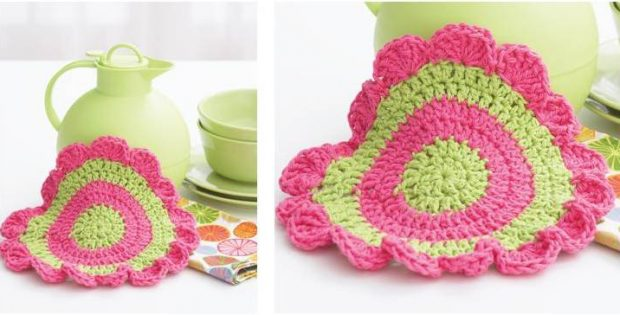 daisy wheel crocheted dishcloth | the crochet space