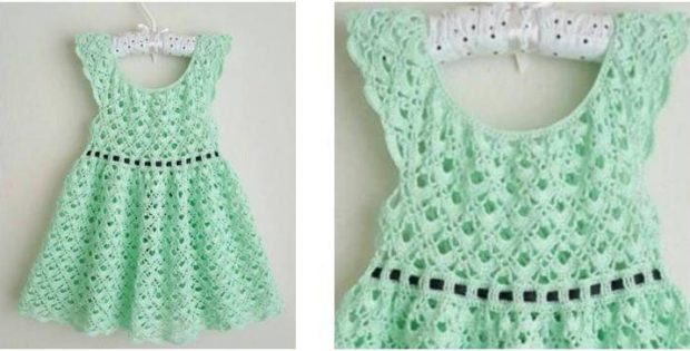Gemstone Lace Crocheted Toddler Dress Free Crochet Pattern