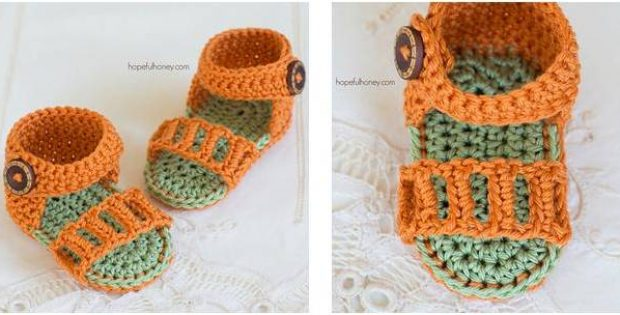 Honeysuckle Crocheted Baby Sandals Free Crochet Pattern