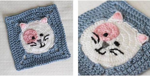 Kitty Cat Crocheted Granny Square Free Crochet Pattern
