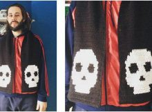 manly skull crocheted scarf | the crochet space