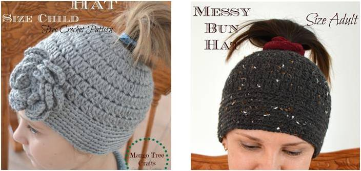 messy bun crocheted hat | the crochet space