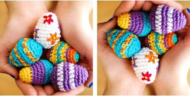 cute crocheted mini Easter eggs | the crochet space