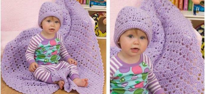 one ball crocheted baby blanket/hat set | the crochet space