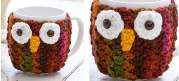 cute crocheted owl mug cozy | the crochet space