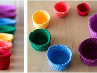 rainbow crocheted nesting baskets | the crochet space