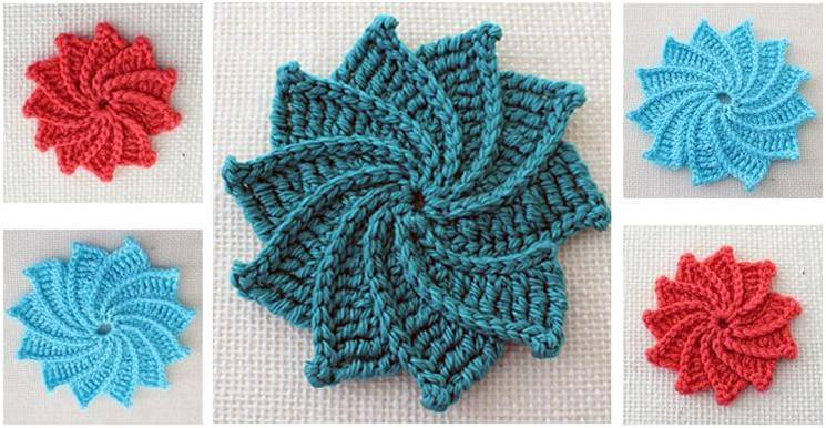 Stunning Spiral Crocheted Flower Free Crochet Pattern