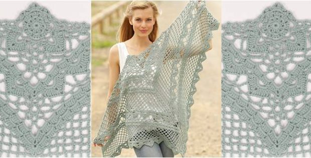 Stylish Crocheted Lace Shawl Free Crochet Pattern