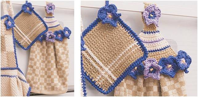 Crocheting Pot Holders : Lovely Crocheted Towel Topper Pot Holder Set [FREE Crochet Pattern]