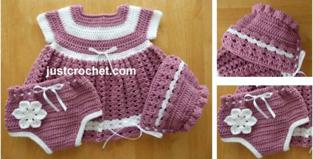 23b9c81d2 Adorable Crocheted Baby Dress Set  Paid Crochet Pattern