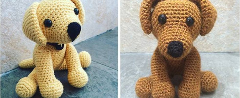 Adorable Crocheted Labrador Puppy Toy [FREE Crochet Pattern]