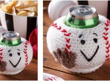 baseball crocheted can cozy   the crochet space