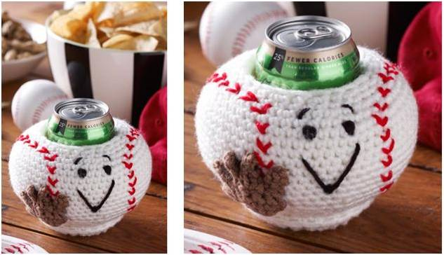 Baseball Crocheted Can Cozy Free Crochet Pattern