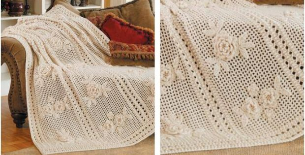 Beautiful Flower Garden Crocheted Afghan Free Crochet Pattern