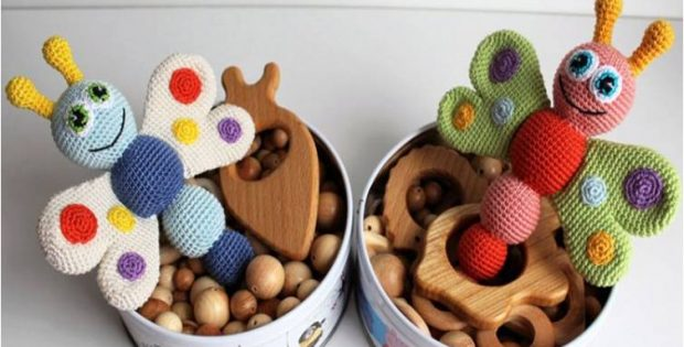 butterfly crocheted baby rattle | the crochet space