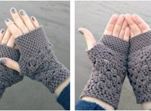 chunky fingerless crocheted gloves | the crochet space
