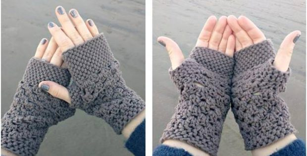 Chunky Fingerless Crocheted Gloves Free Crochet Pattern