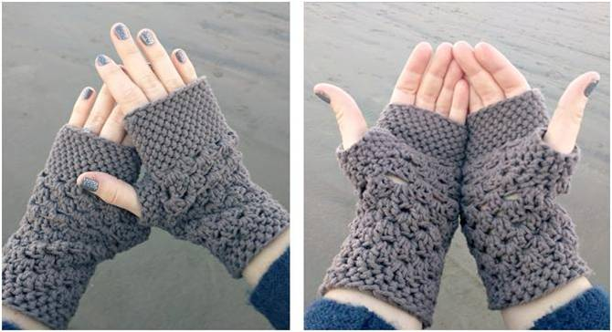 Free Crochet Pattern For Chunky Mittens : Chunky Fingerless Crocheted Gloves [FREE Crochet Pattern]