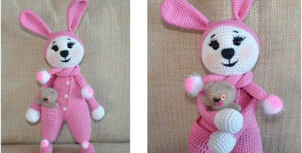 Cute Crocheted Bunny In Pajamas Free Crochet Pattern