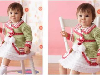 cute pompom crocheted baby cardigan | the crochet space