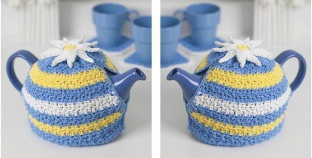daisy motif crocheted tea cozy | the crochet space