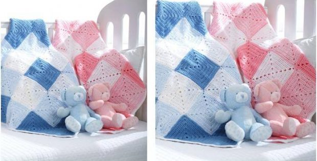 double diamond crocheted baby blanket | the crochet space