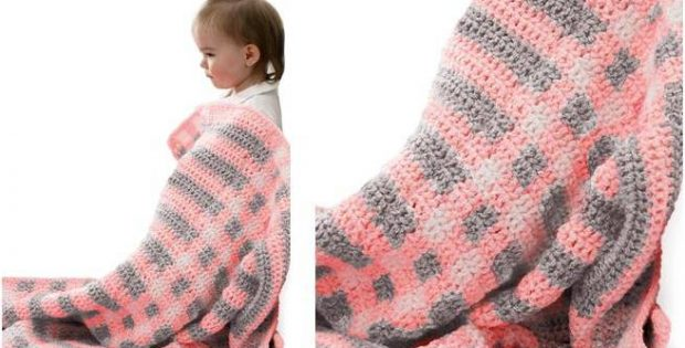 gingham crocheted baby blanket | the crochet space