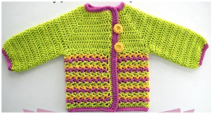 loopy love crocheted baby sweater | the crochet space