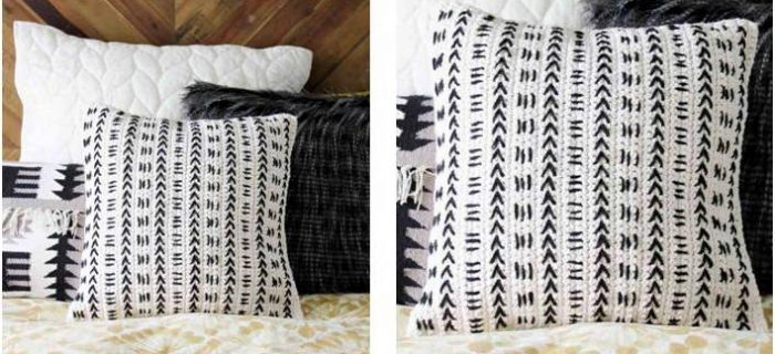 mud cloth crocheted pillow | the crochet space